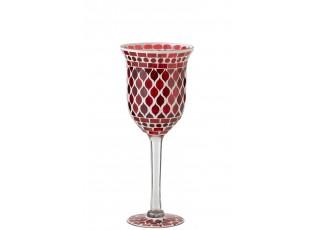 Červený skleněný svícen na nožičce Mosaic - Ø 12*30 cm