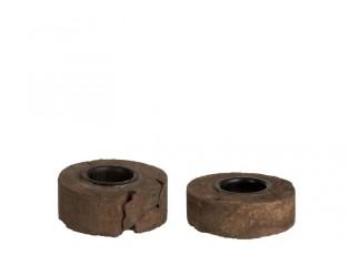 Sada 2 dřevěných hnědých svícnů - 9*9*5 cm