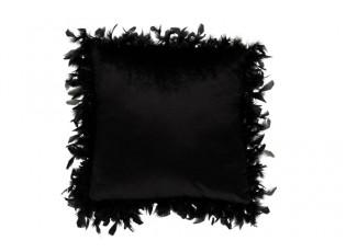 Černý polštář s peříčky- 45*45 cm
