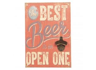 Dřevěná cedule na zeď s otvírákem na láhve Best Beer - 24*34 cm