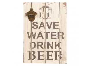 Dřevěná cedule na zeď s otvírákem na láhve Beer - 24*34 cm