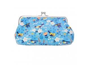 Modrá peněženka s ptáčky - 18*11 cm