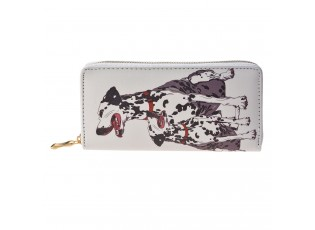 Světle šedá peněženka s dalmatinem - 19*10 cm