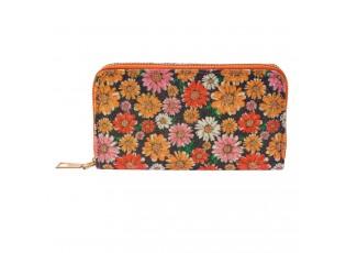 Oranžovo černá peněženka s květinami - 16*9 cm