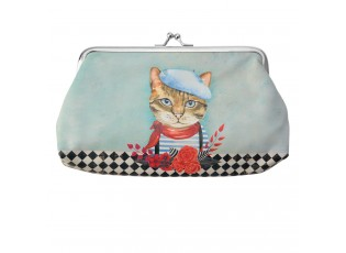 Modrá peněženka s kočkou - 18*10 cm