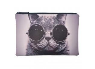Toaletní taška s kočkou v brýlích - 21*15 cm