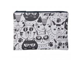 Bílo - černá toaletní taška s kočkami Meow - 21*15 cm