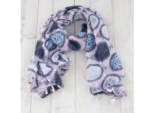 Modro - bílý šátek s třásněmi - 80*180 cm