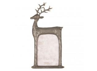 Stříbrný antik fotorámeček s jelenem - 12*2*25 cm / 10*15 cm
