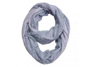 Šedý šátek kolem krku s krajkou - 30*160 cm