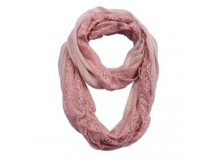 Staro-růžový šátek kolem krku s krajkou - 30*160 cm