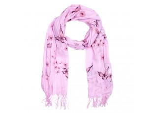 Růžový šátek s motýlky - 70*180 cm