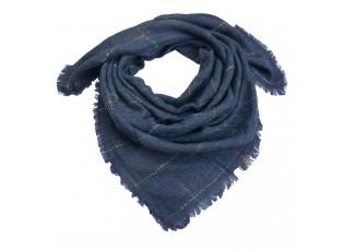 Modrý šátek s tenkými barevnými proužky - 130*130 cm