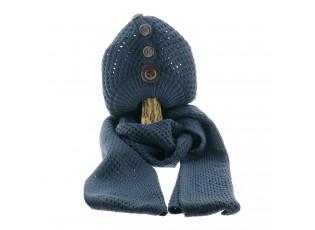 Modrý pletený komplet šála / čepice - 25*70/20*21 cm