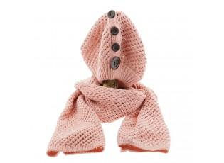 Růžový pletený komplet šála / čepice - 25*70/20*21 cm