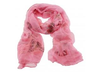 Růžový šátek s motýly - 90*180 cm