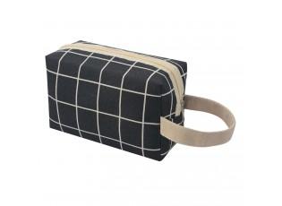 Černo béžová kostkovaná toaletní taška - 20*12 cm