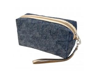 Modro zlatá toaletní taška - 18*10*9 cm