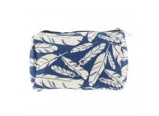 Modrá toaletní taška s pírky - 18*13*6 cm