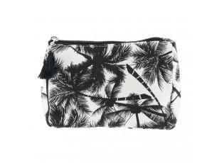 Černo-bílá bavlněná toaletní taška s palmami - 18*13*6 cm
