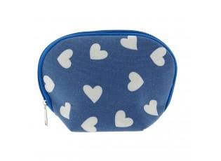 Modrá toaletní taška se srdíčky - 18*13*6 cm