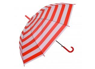 Bílo červený pruhovaný deštník - Ø 93*90 cm