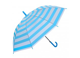 Šedo modrý průhledný pruhovaný deštník - Ø 93*90 cm
