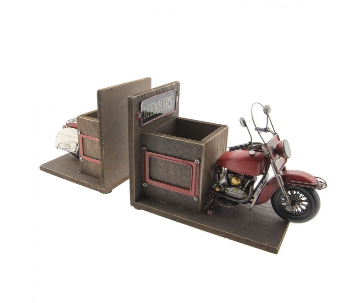Zarážka na knihy s přihrádkami na tužky v designu retro motorky - 42*14*18 cm