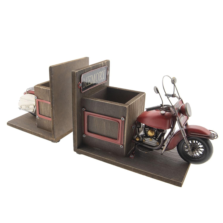 Clayre & Eef Zarážka na knihy s přihrádkami na tužky v designu retro motorky - 42*14*18 cm