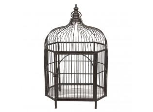 Hnědo-černá kovová dekorační ptačí klec - 37*38*97 cm
