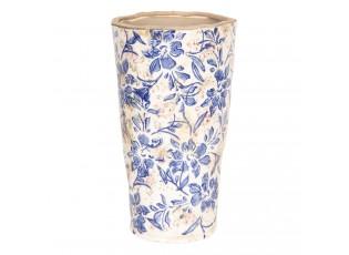 Okrasný vysoký květináč s modrými květy - Ø  17*30 cm