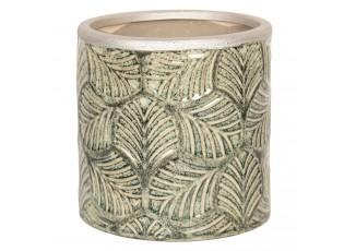 Květináč z keramiky se vzorem listů - Ø 12*12 cm