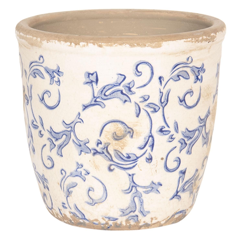 Levně Květináč keramický s patinou a modrými kvítky - Ø 16*16 cm
