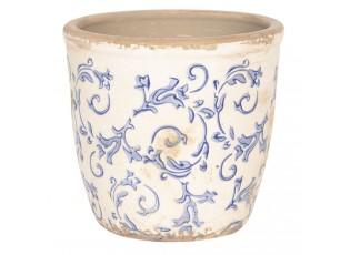 Květináč z keramiky s modrými ornamenty - Ø 14*13 cm