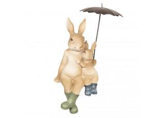 Dekorace sedící králíci pod deštníkem - 10*9*19 cm