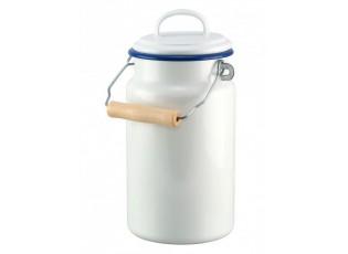 Bílá smaltovaná konvička na mléko/ bandaska - 2L