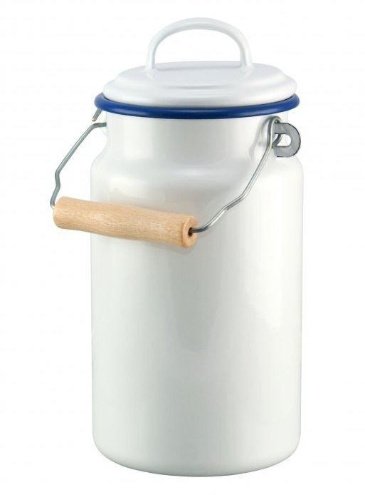 Münder Email Bílá smaltovaná konvička na mléko/ bandaska White blue- 2L
