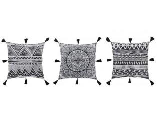 Sada 3 polštářů s ornamenty a střapci - 45*10*45 cm