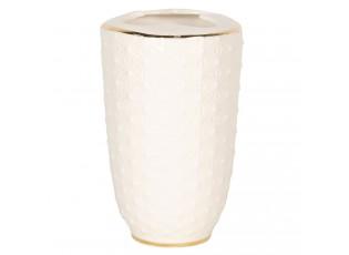 Porcelánový kelímek na zubní kartáčky se zlatým pruhem - 7*12 cm