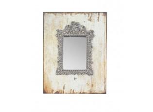 Zrcadlo vsazené do dřevěného rámu s patinou - 23*2*30 cm