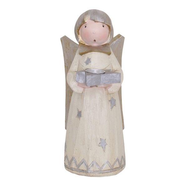 Krémový Anděl Lilian na čajovou svíčku - 36cm