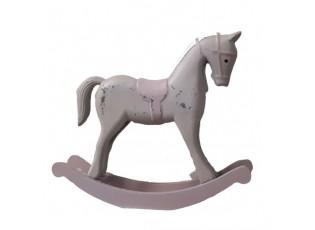Dekorace dřevěný houpací koník růžovošedý