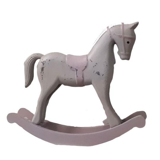 Dekorace dřevěný houpací koník fialovošedý