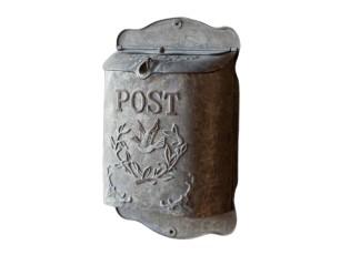 Šedá poštovní retro schránka s ptáčkem - 23*12*34 cm