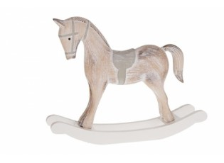 Dekorace dřevěný houpací koník s patinou - 37*6*31cm