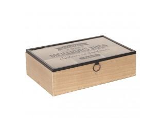 Dřevěný zásobník na čaj Meilleurs Thes (6 přihrádek) - 24*16*7 cm