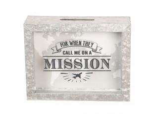 Kovová pokladnička Mission - 18*5*14 cm
