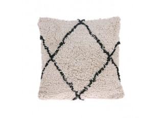 Béžovo-krémový polštář s třásněmi Diamond- 50*50cm