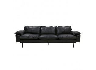 Černá 4-místná kožená pohovka Retro - 245*83*95 cm