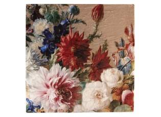 Béžový chlupatý pléd /přehoz s květy - 130*170 cm